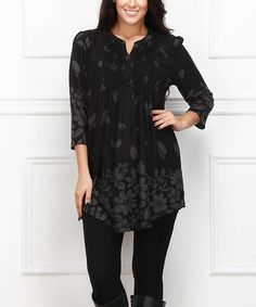 Look what I found on #zulily! Black Floral Button-Front Tunic - Plus #zulilyfinds