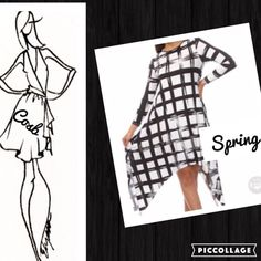 Black & White Windowpane Long Dress/Top Cute! Cute! Black & White Asymmetrical Dress/Long Top. Dress has windowpane like design, long sleeves, & long asymmetrical sides. It flows. Material is Rayon & Spandex. True 2 Size. Small-Large Cosb Dresses Asymmetrical