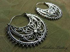 Tribal Hoop Earrings White Brass Earrings by ShankaraTrading