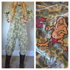 Vintage Jumpsuit Camo Short Shot Car Mechanic Funny Comic Jumper Overalls Cover Alls Coveralls Cotton Camouflage Small Short Metal Zipper by newagegypsy on Etsy