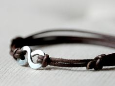 Infinity Bracelet  Brown leather and Aluminium wire  by Kosmika, €16.00
