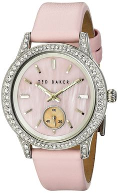 """Ted Baker Women's TE2119 """"Vintage Glam"""" Swarovski Crystal-Accented Stainless Steel Watch with Pink Leather Band"""