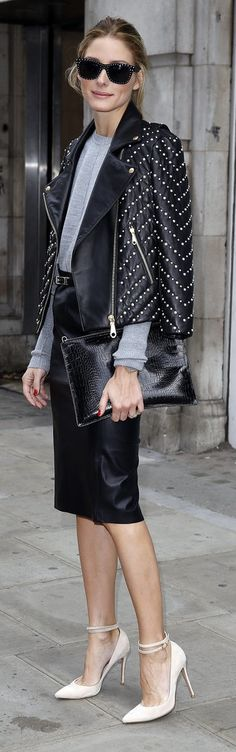 Olivia Palermo's feminine pumps and studded moto jacket offered the perfect play between downtown and uptown style.