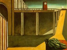 Giorgio de Chirico - WikiArt.orgPainted while the artist was living in Paris, Gare Montparnasse (The Melancholy of Departure), illustrates many recurring themes in De Chirico's works. In addition to the long shadows and vast expanse of open space, a typical style in which De Chirico painted, this work also includes the theme of railway travel or transportation. As evidenced by the name, many of De Chirico's works were inspired by the feelings evoked by travel and departure.