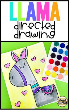 Llama directed drawing (how to draw a llama) for kids. Llama directed drawing (how to draw a llama) for kids. E Learning, Kindergarten Art, Preschool Art, Art Classroom, Classroom Themes, Drawing For Kids, Art For Kids, Drawing Ideas, Learn Drawing