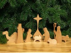 Depictions of the Nativity define the Christmas season! This nine-piece Nativity Set is made from light Oregon Myrtlewood. The subtly