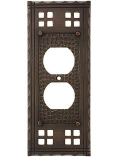 Arts and Crafts Duplex Outlet Cover Plate In Oil-Rubbed Bronze | House of Antique Hardware