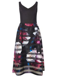 5248d7bc967a9f Luxe Multi Coloured Floral and Striped Prom Dress