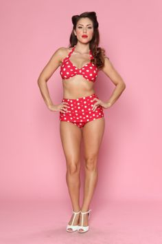 Classic fifties style bikini polka Red White from topbrand Esther Williams! Vamp it up in this sexy and stunning authentic 1940's / 1950's vintage reproduction bikini.