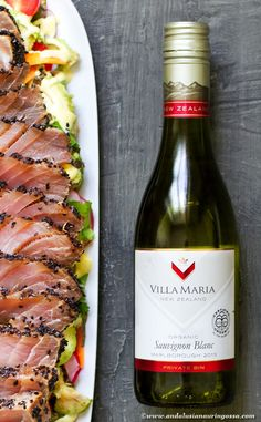 This organic Sauvignon Blanc from New Zealand has aromatic dryness and ripe fruitiness that works well as an aperitif or with Asian inspired dishes. Try my recipe pairing: sesame encrusted Asian tuna salad