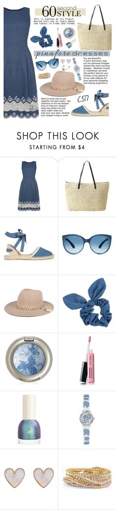 """""""60-Second Style: Pinafores."""" by shiningstars17 ❤ liked on Polyvore featuring Oasis, Soludos, Dorothy Perkins, Avon, GUESS, New Look, Torrid, pinafores and 60secondstyle"""