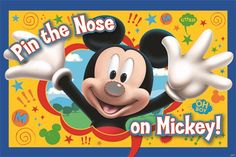Disney Pin the Noce on Mickey. A party game board measuring 37.5 inches x 24.5 inches features the image of a smiling Mickey who is missing his nose. The Mickey Mouse Clubhouse Party Game includes 8 nose stickers and 1 paper blindfold.  Not intended for use by children under 3.