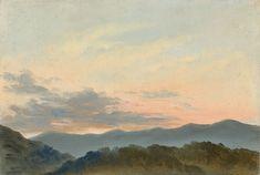 """Carl Gustav Carus  Leipzig 1789 – 1869 Dresden  """"Wolkenstudie"""". Um 1830/40 Öl auf Leinwand. 19,6 × 29 cm (7 ¾ × 11 ⅜ in.) Nicht bei Prause."""