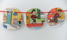 SALE Comic Bunting - paper bunting - recycled bunting - eco friendly bunting
