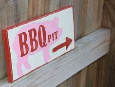 RED-BBQ-PIT-Sign-Handmade-Painted-Cedar-Rustic-pink-pig-grilling-Grill-Man-Cave