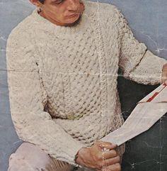 Vintage Knitting Pattern Instructions to Make a Mens Traditional Aran Jumper