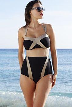 25f53ad917740 Plus Size - Tropiculture Black/Bronze Twisty Bikini Plus Size Bikini, Plus  Size Swimsuits