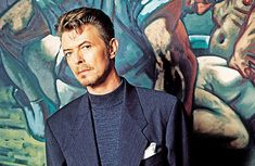 David Bowie with Peter Howson's Croatian and Muslim 1994 by Richard Young/Rex Features.