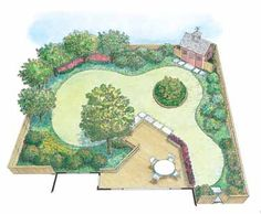 Edible landscape with fruit and nut trees with evergreen bushes