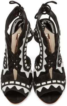 Sophia Webster Black & White Suede Riko Sandals