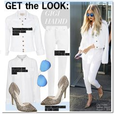 Get The Look-Gigi Hadid by kusja on Polyvore featuring mode, Equipment, Current/Elliott, WearAll, Ray-Ban, GUESS, GetTheLook, celebstyle and gigihadid