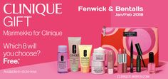 Choose 8 from 11 Clinique favourites. Free at Bentalls & Fenwick stores when you purchase 2 or more Clinique products.