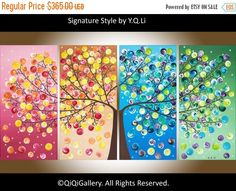 "Large Abstract Landscape Art four seasons Canvas Tree Painting Office Wall Decor Days of Happiness"" by qiqigallery Grand Art Mural, Extra Large Wall Art, Art Abstrait, Tree Wall, Art Plastique, Oeuvre D'art, Landscape Paintings, Landscape Art, Tree Paintings"