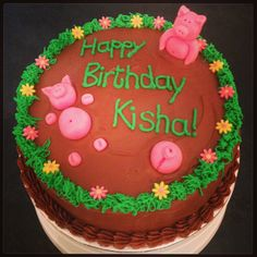 Piggies in mud chocolate fudge cake!