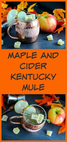 Maple and Cider Kentucky Mule - bourbon, apple cider, maple syrup, lime juice and ginger beer! cocktail, recipe, moscow mule, copper mugs, fall, autumn