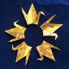 1000 6 Gold Origami Cranes Senbazuru by OrigamiLandDeco on Etsy