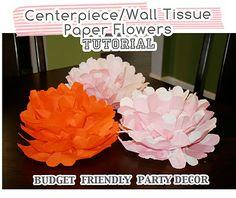 Centerpiece/Wall Tissue Paper Flowers: TUTORIAL