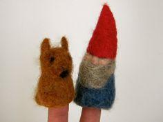 Fantastic fox finger puppet. Needle felted.. $8,00, via Etsy.