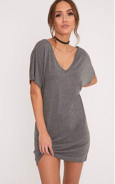 Basic Charcoal V Neck T Shirt Dress