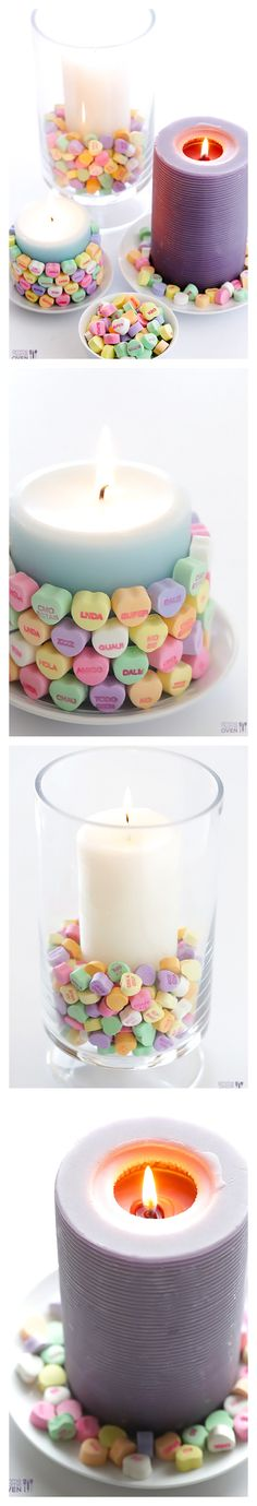 5-Minute DIY Heart Candles -- three ideas for making cute candles using conversation hearts | gimmesomeoven.com/style #valentines #valentinesday #diy