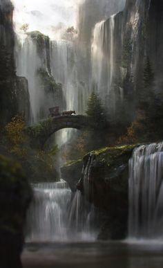 comment résister au rêve?fantasy-art-engine:Waterfall by Jordi Gonzalez Escamilla