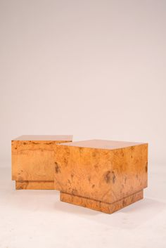 Burl Olive End Tables by Milo Baughman in good condition with light wear. We also have the matching coffee table. Please see the separate listing. 18 Sq