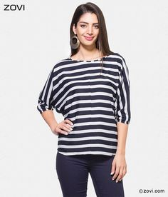 The black and white stripe top brings forth a sassy uptown style to your wardrobe. #Zovi #Womensfashion