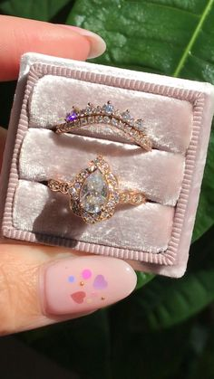 Crown diamond wedding band + vintage floral pear moissanite diamond engagement ring in your favorite, rose gold ~ by La More Design Jewelry # Wedding Rings for him Unique moissanite diamond ring set rose gold by La More Design Diamond Cluster Engagement Ring, Vintage Engagement Rings, Vintage Rings, Engagement Ring On Hand, Solitaire Engagement, Moissanite Diamond Rings, Moissanite Bridal Sets, Vintage Diamond Wedding Bands, Wedding Rings Vintage