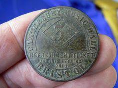 RARE BRISTOL CANTERBURY MUSIC HALL THREEPENCE TOKEN CIRCA 1859