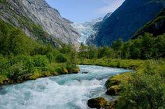 Briksdalsbreen, Norwegia Norway, Waterfall, River, Nature, Traveling, Outdoor, Wallpaper, Unique, Viajes