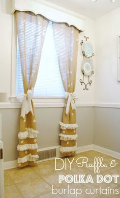 Burlap Polka Dot Curtains tutorial - These are so cute! | www.classyclutter.net