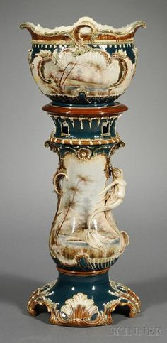 Art Nouveau Painted and Parcel-gilt Pottery Jardiniere and Pedestal, ca. 1900.