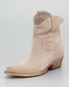Suede Western Ankle Bootie Beige - Lyst