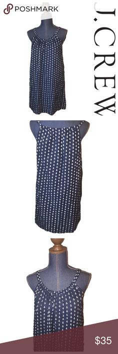 J crew spaghetti strap anchor dress Cute  navy blue anchor print dress , size medium. From j crew factory . No flaws, open to offers. Will take measurements soon! J. Crew Factory Dresses Midi