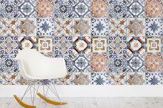 Multicoloured Portuguese Tile Effect Wallpaper