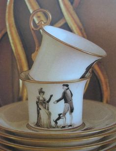 Directoire teacups made for Pelle's mother    in the 40′s by Le Vase Etrusque