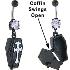 Cubic Zirconia BLACK Plating COFFIN Dangle Belly Ring | Body Candy Body Jewelry #bodycandy #piercings #bellyring