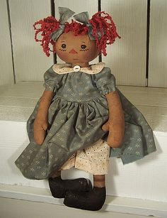 #Raggedy Rachael  (346)-primitive raggedy doll pattern, raggedy pants, raggedypants, raggedypants.net, cloth doll pattern, hair, Michelle Allen, dolls, craft pattern, folkart, sewing pattern, sew,