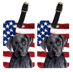 Pair of USA American Flag with Labrador Luggage Tags SC9012BT