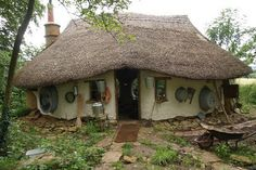 Pictured: Michael Buck's Hobbit-style cob house built from scratch near Oxford for just £150